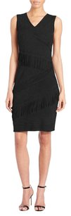 Elie Tahari Suede Leather Fringe Lbd Dress