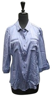 Elie Tahari Blue Silk Sleeve Button Down Solid Sma12121 Top Blue/Purple