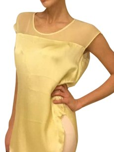 Elizabeth and James Cocktail The Row Silk Chiffon Date Night Top yellow