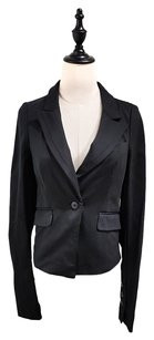 Elizabeth and James Fitted Slim Stretch Nylon Black Blazer