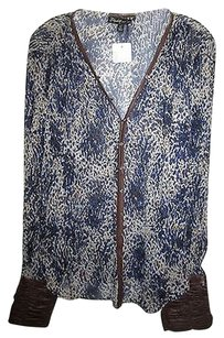 Elizabeth and James 100 Silk Print Long Top Blue and Beige
