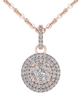 Elizabeth Jewelry 10Kt Rose Gold 0.50 Ct Diamond Halo Pendant
