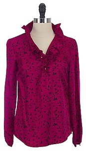 Elizabeth McKay Flying Bird Print Silk Shirt 4072 Top Pink