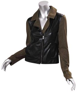 Ella Moss Womens Faux Leather Color Block Motorcycle Motorcycle Jacket