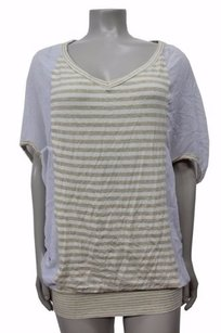 Ella Moss V Stripe Top Beige-white