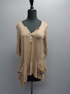 Ella Moss Brown Sleeve Stretchy Button Down Sm12367 Top Light Brown