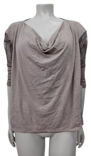 Ella Moss Chastity Tee Cowl Neck Tonal Lace Detail Dolman Sleeves Top Taupe
