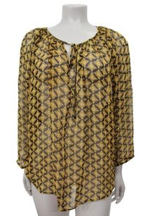 Ella Moss Marigold Silk Print Top Yellow