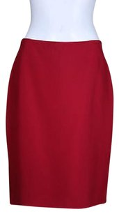 Ellen Tracy Petites Womens Pencil Silk Straight Wtw Skirt Red