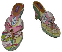 Emilio Pucci Floral Print High Heel Slip On Casual Wedge Green Sandals