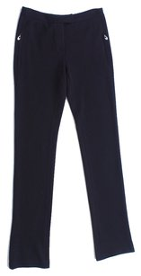 Emilio Pucci Wool Monogram Straight Trouser Pants Black
