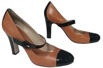 Enzo Angiolini Black Leather Patent Leather Mary Janes B3633 Tan Pumps