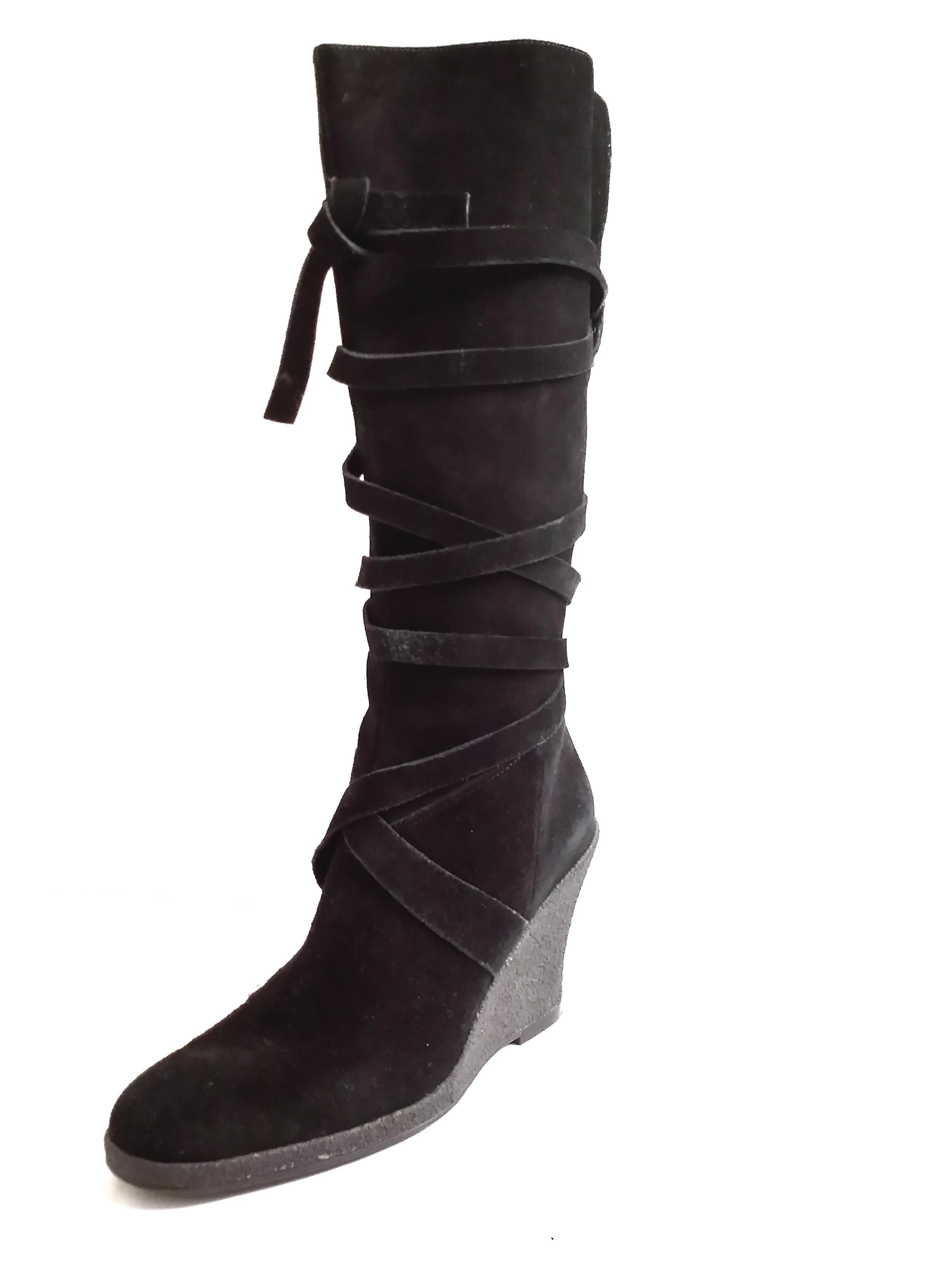 enzo angiolini quot rosalie quot suede knee high wedge black boots