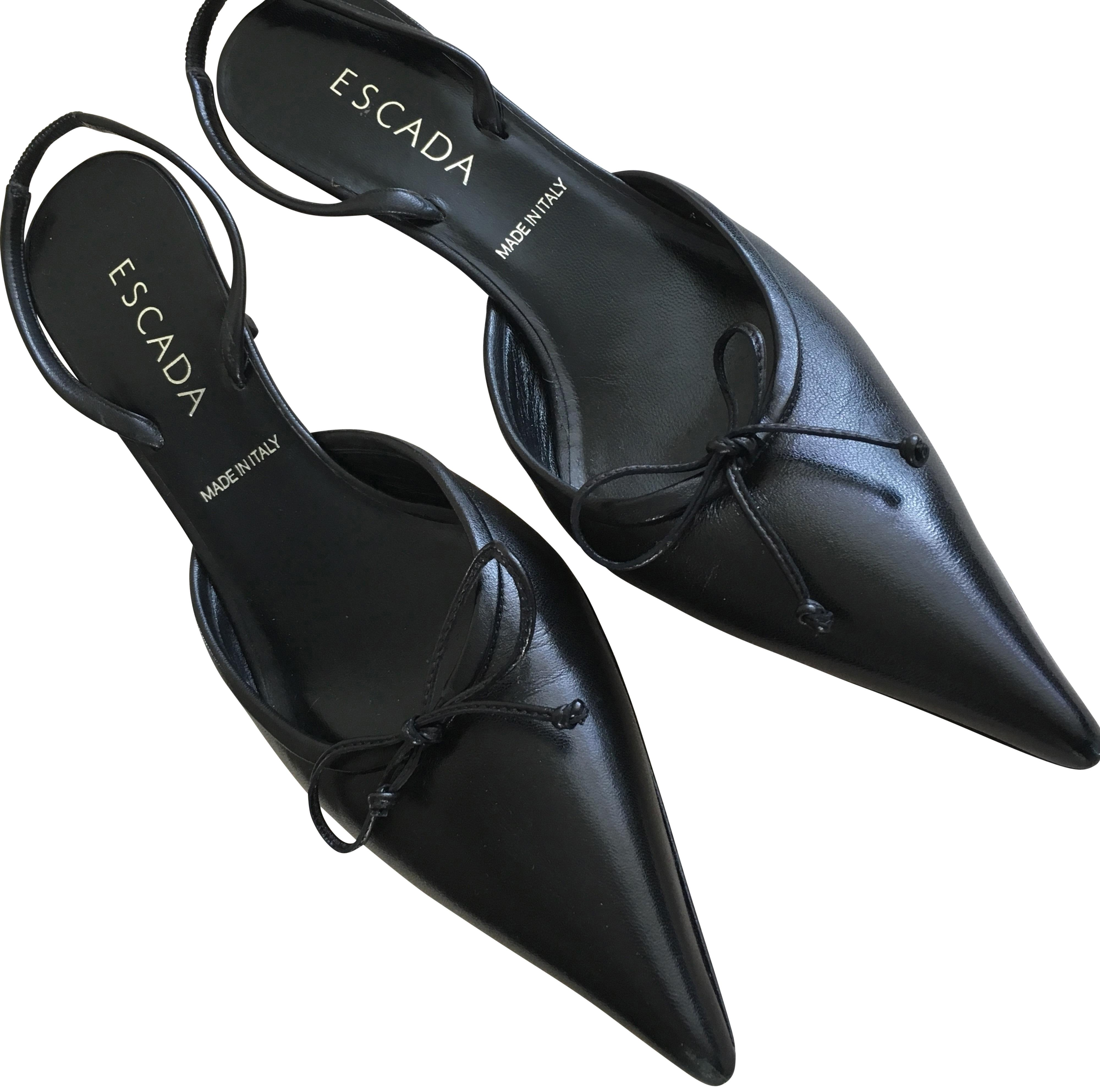 561f81dc800 Escada Black Leather Slingback with Bow Detail Pumps Size Size Size EU 37.5  (Approx. US 7.5) Regular (M