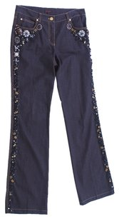 Escada Embroidered Embellished Straight Pants Dark Denim
