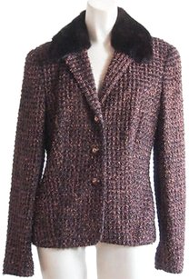 Escada Escada Black Brown Cotton Vintage Metallic Fringe Mink Collar Blazer Hs858