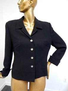 Escada Escada Black Label Wool Black Blazer Jacket Logo Buttons
