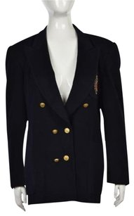Escada Escada Womens Navy Blazer Cashmere Blend Long Sleeve Wtw Jacket Coat
