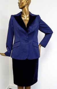 Escada Escada Blue Wool Midnight Blue Velvet 2pc Skirt Suit