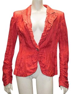 Escada Escada Red Silk Blend Ruched Puckered 1 Button Blazer Jacket Hs1326