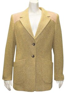 Escada Escada Sport Yellow Wool Blend Suede Trimmed Jacket Blazer Coat Sz38 Hs1983