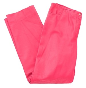 Escada Lambskin Leather Straight Trouser Pants Pink