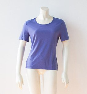 Escada Cotton Blend Short Sleeve Blouse Shirt Nwd Hs2405 T Shirt Purple