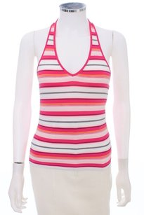 Escada Striped Stretchy PINK MULTI Halter Top