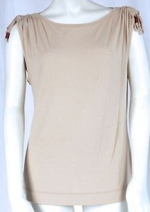 Escada Sport Tan Sleeveless Ruched Top Beige