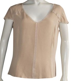 Escada Silk Lace Trim Top Beige