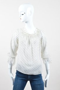 Escada Black Silk Polka Top Cream