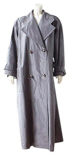 Escada 100 Silk Double Breasted Full Length Winter Hs712 Trench Coat