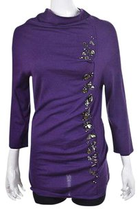 Escada Womens Mockneck Speckled Silk Cashmere Party Sweater