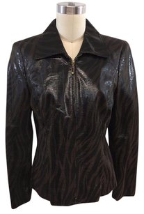 Escada Animal Print Textured Pig Suede Zip Front Brown/ Black Jacket