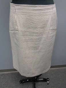 Etcetera Striped Lined Polyester Blend Pencil Sma2333 Skirt Black White