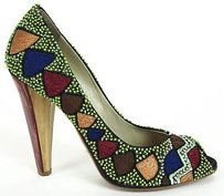 Etro Black Satin Sequined Peep Toe Heels Eu Multi-Color Pumps