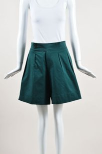 Etro Cotton Pleated Dress Shorts Green