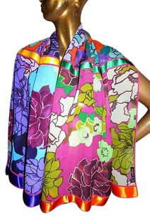 Etro Etro Multi Color 100 Silk Floral Shawl Italy