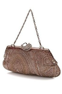 Etro Paisley Print Brocade Crocodile Frame Evening Brown Clutch
