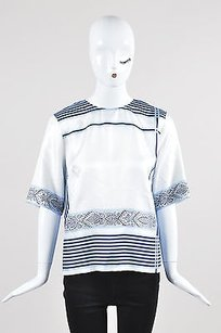 Etro White Silk Printed Top Blue