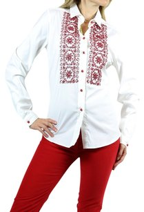Etro Red Embroidered Top white