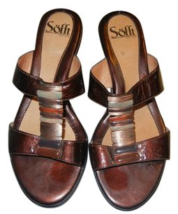 Erosoft by Sfft Patent Leather Sandal Beaded Brown Sandals