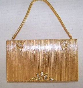 Evans Jeweled Vanity Box Gold Clutch