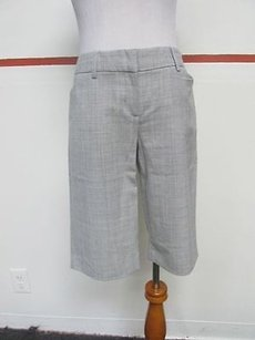 Express Design Studio Knee Length Flat Front Solid Pockets A812 Bermuda Shorts Gray