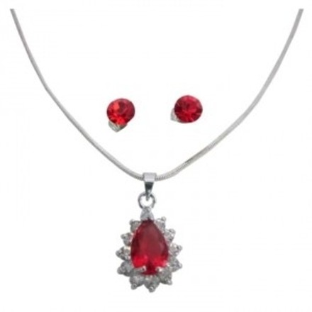 Red Exquisite Peardrop Cz Necklace and Earring Bridesmaid Jewelry Set