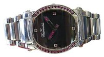 Faonnable Ladies Faconnable Stainless Steel Diamond Hands Oval Black Dial Watch
