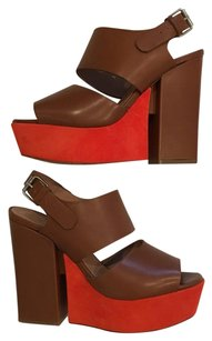 Faonnable Platform Leather Suede brown and orange Platforms