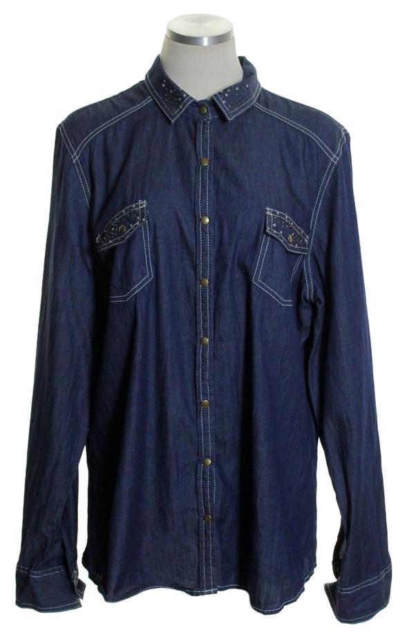 Faded Glory Blue Chambray Denim Studded Snap Button Shirt