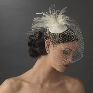 Iuliia Russian Birdcage Veil Wedding Bridal Hat With Swarovski Crystals & Feather Accents - White