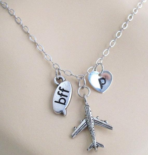 Fashion Jewelry For Everyone Silver Airplane Bff Best ...